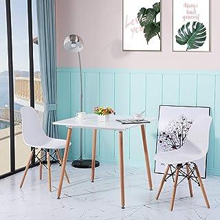 DORAFAIR Table de salle à manger rétro en MDF blanc Table de salle à manger Table de salon Table carrée 80 x 80 x 74 cm 4 ...