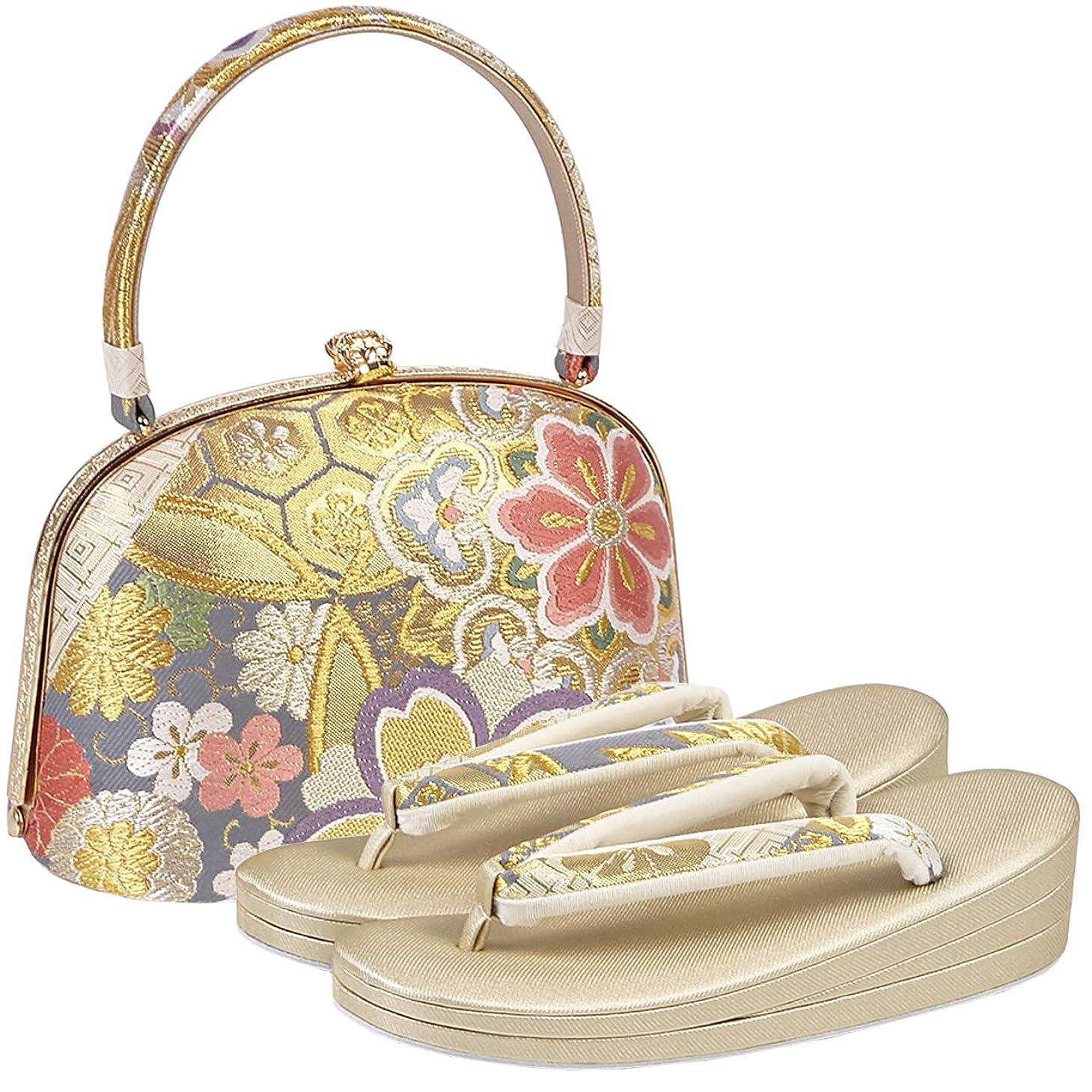 ラグ非常に怒っています出席[紗織] 草履バッグセット レディース 2Lサイズ 金色 花柄 三枚芯 N3468