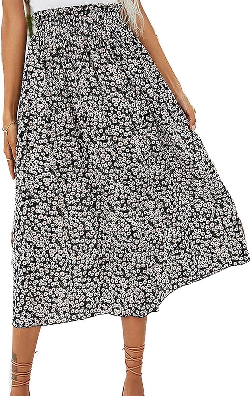Naggoo Women's Polka Dot Midi Skirts Casual High Elastic Waist A Line Pleated Midi Chiffon Skirts with Pockets