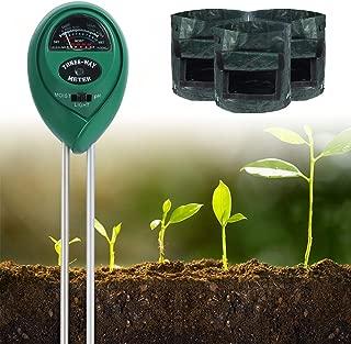 IDEALHOUSE Soil Moisture Sensor Meter PH Tester 3-in-1 Plant Test Kit with 3 Packs 7 Gallon Grow Bags Potato Pot Indoor&Outdoor