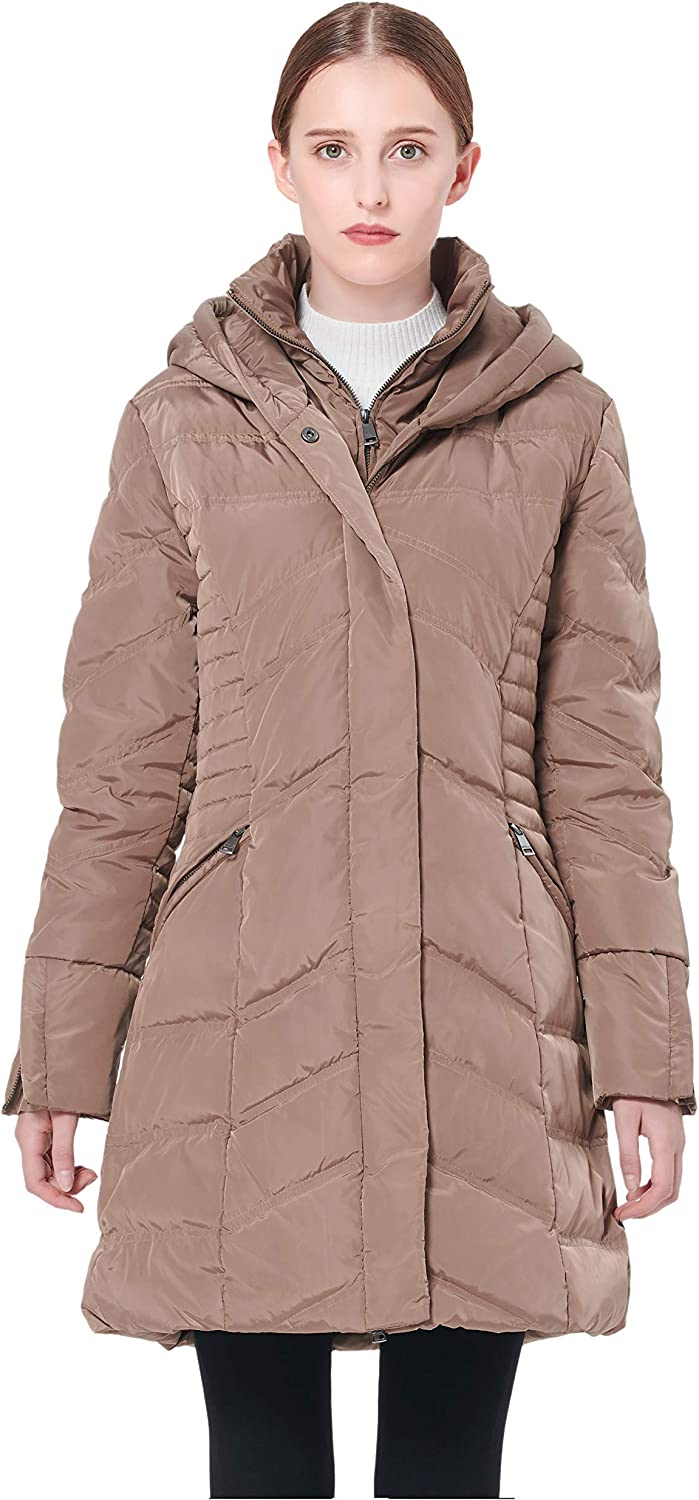 Orolay Women's Hooded Down Jacket Winter Mid Coat Slim Quilted Puffer Jacket
