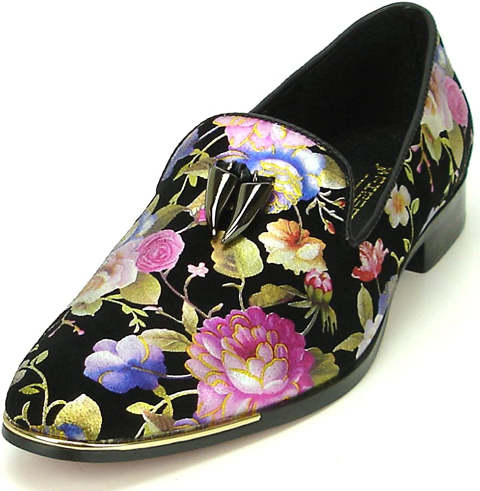 Fiesso by Aurelio Garcia FI-7155-6921 Black Floral Gold Metal Tassel Slip on Loafer - European Shoe Designs