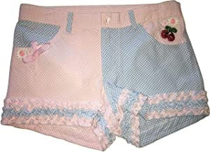 Kate Mack Girls Ruffled Gingham Cherries Jubilee Shorts, Pink & Blue Multi, 10
