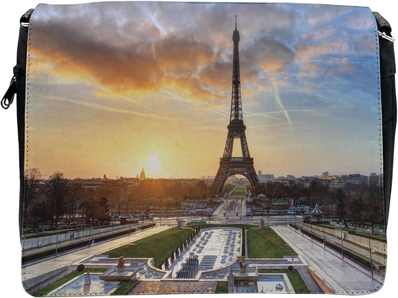 Ambesonne Eiffel Tower Cross Body Messenger Bag, Scenic View Paris, Unisex