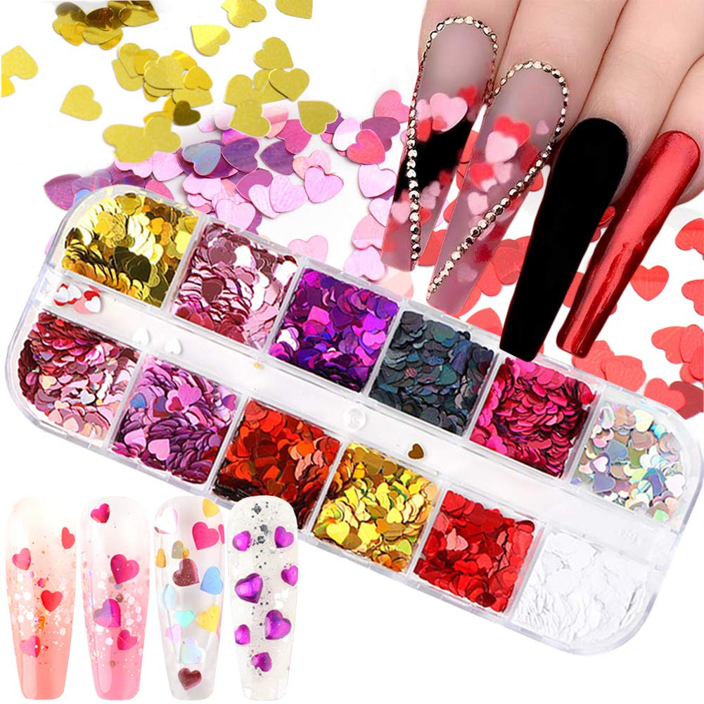Max 82% OFF 3D Heart Nail Max 46% OFF Glitter Sequins Stickers Art Valentine's Day