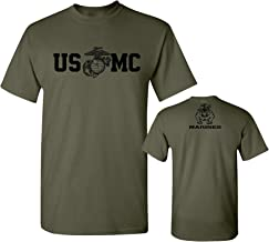 Lucky Ride Marine Corps Bull Dog Front and Back USMC Men's Military T-Shirt