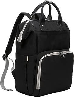 Baby Diaper bag, Large Changing Nappy Backpack Rucksack Waterproof Diaper Rucksack with Stroller Hooks for Mum (Black)