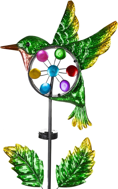 VEWOSTAR Solar Wind Spinner Outdoor Metal Hummingbird Windmill Solar Light for Garden Patio Yard