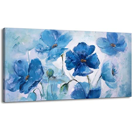 Amazon Com Large Wall Art Canvas Art Wall Decor Blue Flowers Theme Pictures Abstract Floral Prints Framed Wall Art For Bedroom Wall Decorations For Living Room Modern Decor Ready To Hang Size 24x48