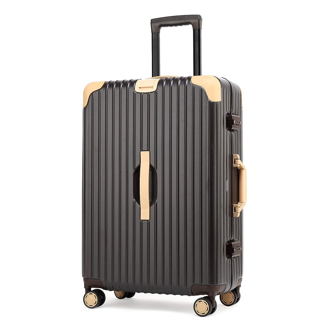 社会主義エイリアン広告主Kroeus(クロース)スーツケース 人気 4輪ダブルキャスター 安定性 軽量 大容量 キャリーケース 旅行 出張 TSAロック 隠しフック 透明カバー 一年保証