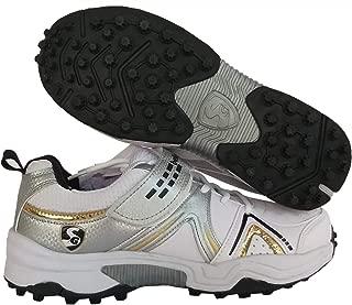 SG Century 3.0 Men's White Black Gold PU Cricket Shoes (8)