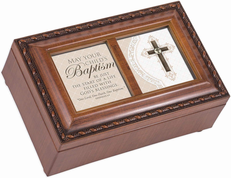 Cottage Garden Child's Baptism Life Fulfilled Blessings Woodgrain Petite Jewelry Music Box Plays Amazing Grace