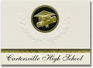 Signature Announcements Cartersville High School (Cartersville, GA) Graduation Announcements, Presidential style, Elite package of 25 Cap & Diploma Seal. Black & Gold.