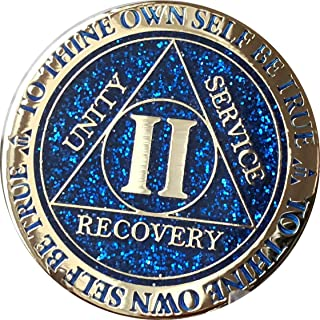 RecoveryChip 2 Year AA Medallion Reflex Blue Glitter Gold Plated Color Chip II