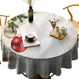 Dasnh Round Polyester Tablecloth Wash Free, Wrinkle Free Festive Icons Tree Diameter 54 inch Great for Wedding | Restauran...