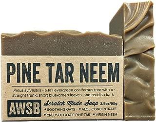 Pine Tar Neem Oil All Natural, Vegan, Organic Bar Soap for Skin Problems, Handmade by A Wild Soap Bar