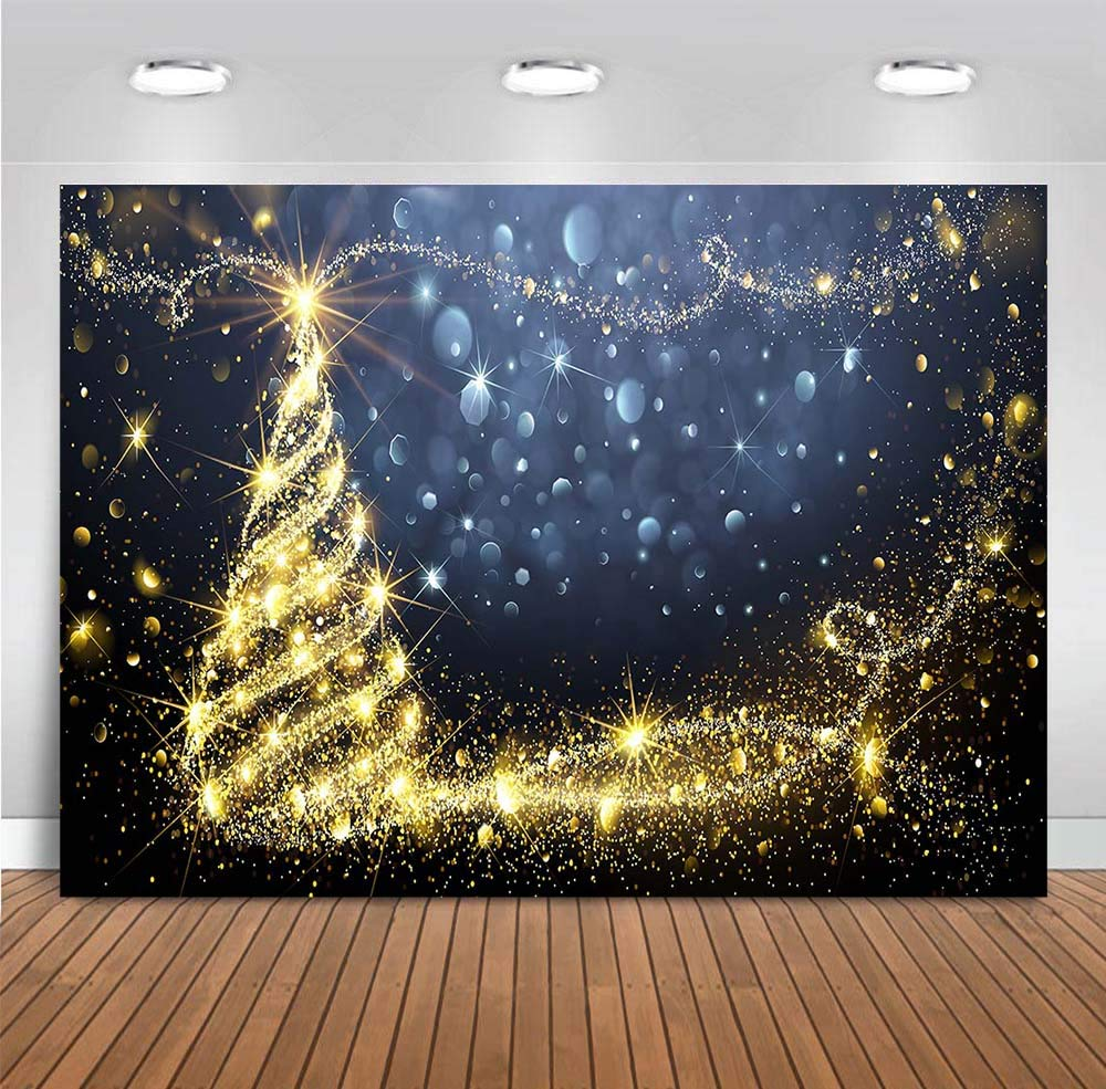 Demohome 7x5ft Sparkling Stars Red Christmas Backdrops for Photography Glitter Sparkle Xmas Trees Backdrop New Year Party Supplies Photo Background Pictures Banner Decor Studio Booth Props