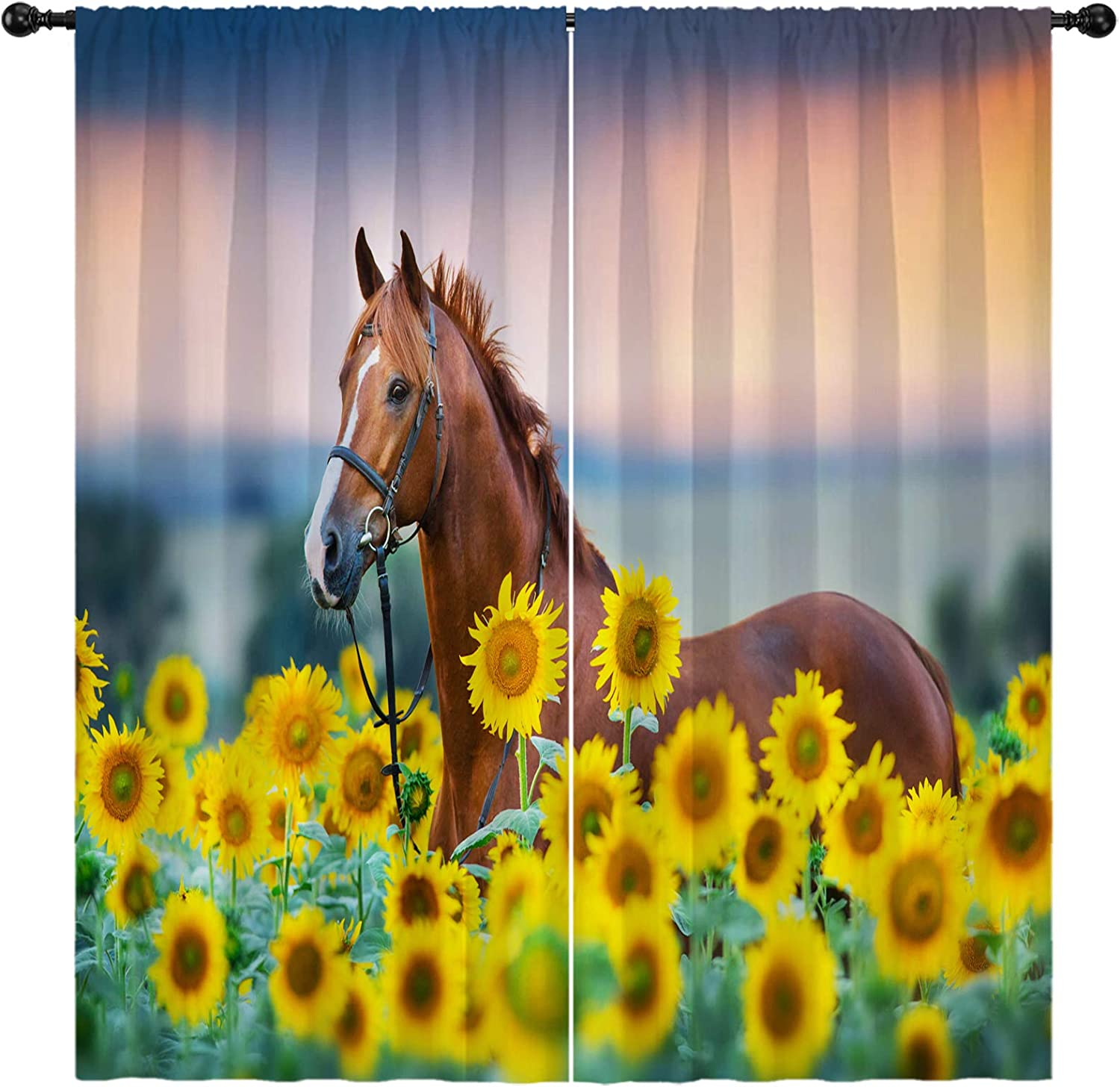boenkj Horse Curtains for Girls in Max 85% OFF Running Sunflo Bedroom Super beauty product restock quality top Horses