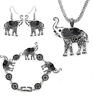 MMIRACULOUS GARDEN 3 Pack Elephant Jewelry Sets for Women Girls,Vintage Silver Ethnic Tribal Elephant Jewelry Sets Boho Pendant Necklace Drop Earrings Link Bracelet Sets.