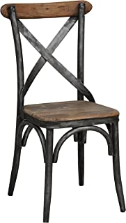 Kosas Home 53003560 Bentley Side Chair, Hand-Distressed Natural Finish with Black Base