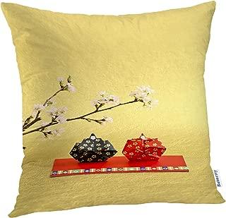 Batmerry Spring Pillows Decorative Throw Pillow Covers 18x18 Inch, White Kimono Kokeshi Doll Cute Geisha Girl Double Sided Square Pillow Cases Pillowcase Sofa Cushion
