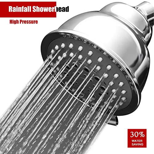 MEETYOO Rainfall High Pressure Shower Head Luxury Spa Fixed high Flow Showerhead Adjustable Swivel Joint Powerful 5 Spray Settings Fits Shower Arm Thread Outer for Bathroom Hotel Relaxation