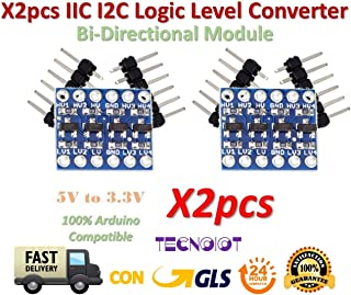 TECNOIOT 2pcs 4Channel IIC I2C Logic Level Converter Bi-Directional Module 5V to 3.3V