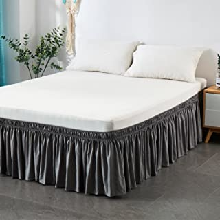 Cozylife Three Fabric Sides Wrap Around Elastic Solid Bed Skirt, Easy On/Easy Off Dust Ruffled Bed Skirts 14 Inch Tailored Drop (King/Cal-King, Gray)