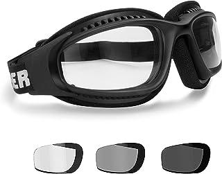 BERTONI AF113 Winddichte Motorradbrille Schutzbrille with Outriggers Antibeschlag UV Schutz - Verstellbar Elastische für Motorradhelm - Transparent Linse Photochrome Linse