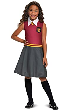 Harry Potter Gryffindor Dress Classic Girls Costume, Red & Gray, Kids Size Large (10-12)