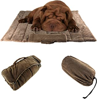 MY-PETS Roll Up Blanket Tote Dog Crate Mat Mattress for Puppy and Cats, Washable Car Seat Cover for Dog Backseat, Cat Bed Mattress for Christmas, Thanksgiving,