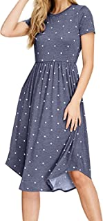 Women Summer Pleated Polka Dot Pocket Loose Swing Casual Midi Dress