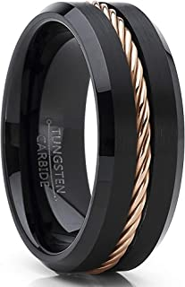 Men's Black Tungsten Carbide Wedding Band Ring Rose Gold Tone Steel Cable Inlay