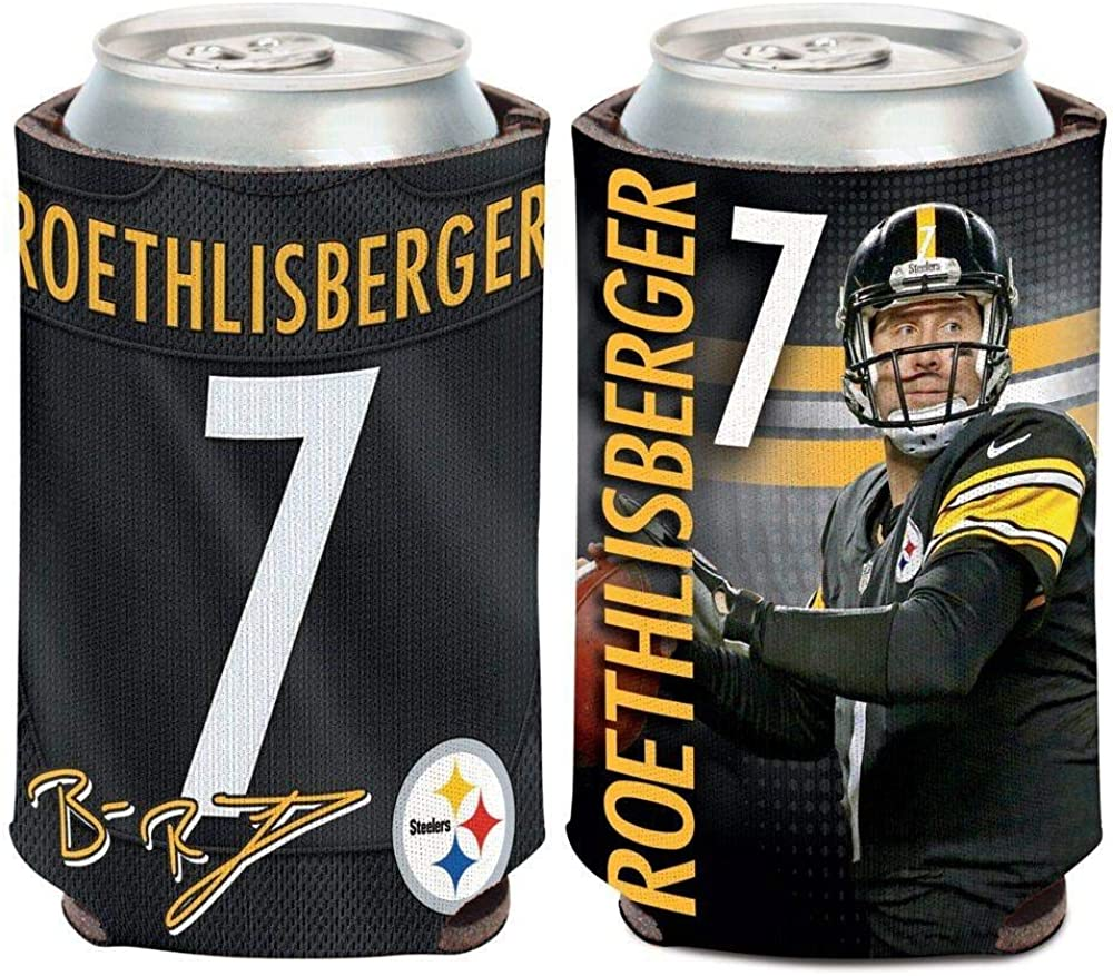 WinCraft NFL Pittsburgh Steelers Can Cooler Ben Roethlisberger Design, One Size, Team Color