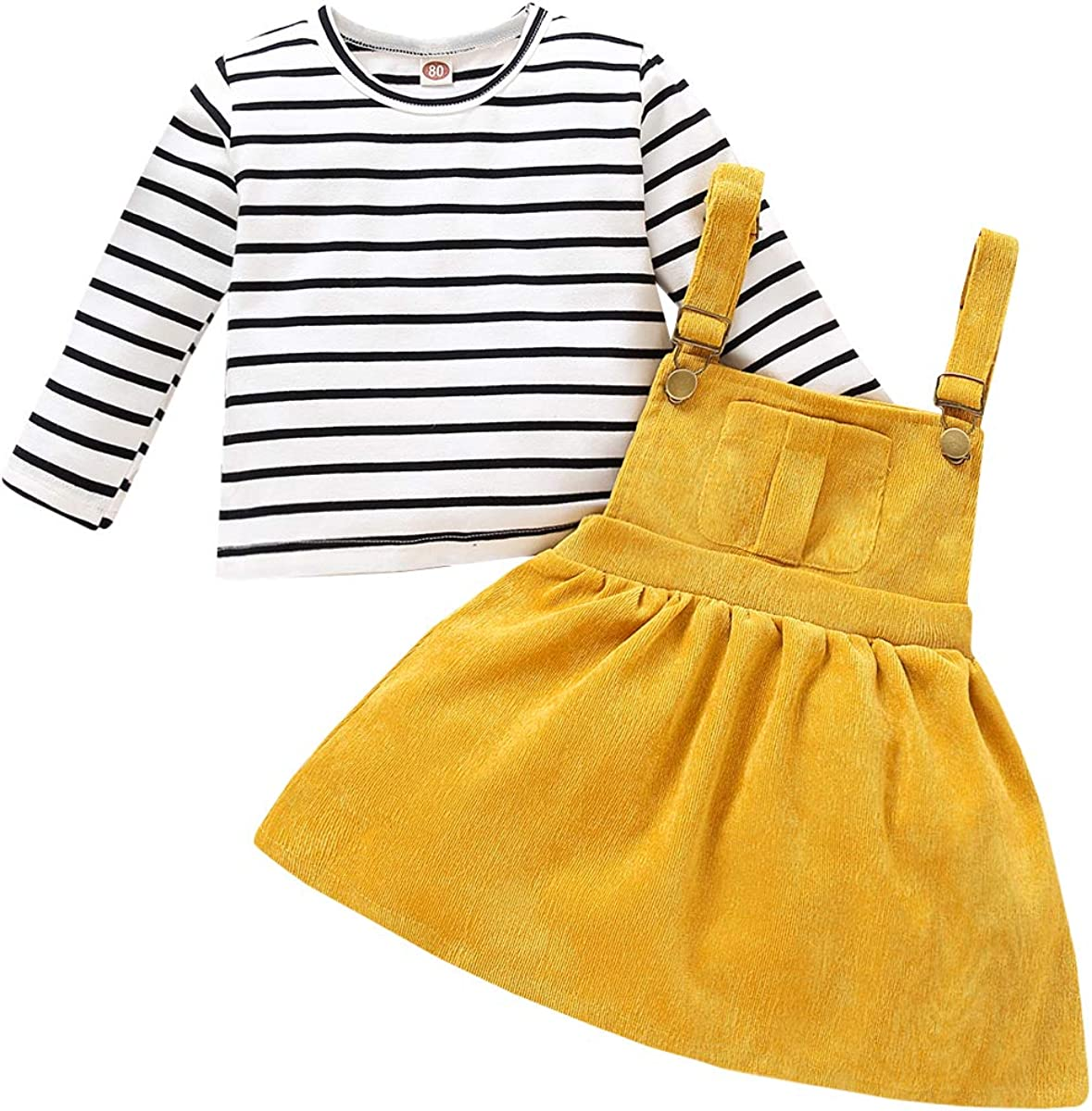 Toddler Baby Girl Clothes Overall Outfits Sets Infant Long Sleeve Stripe Top Strap Skirt Fall Winter Clothes for Baby Girl