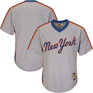 VF New York Mets MLB Mens Majestic Cool Base Cooperstown V Neck Jersey Gray Big & Tall Sizes