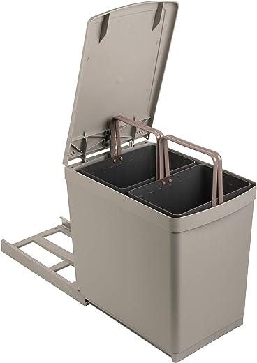 Sanitop-Wingenroth Ausziehbarer Mülleimer Küche, 2 x 7,5 l Einbaumülleimer, 2-fach Trennsystem, 15 Liter Abfallsystem ausziehbar, Abfallsammler,…