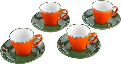 IMUSA USA A120-22208 8 Piece 3oz Colorful Espresso Cups with Saucers (Green, Orange)