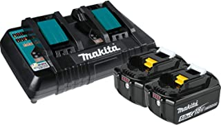 Makita BL1850B2DC2 5.0 Ah 18V LXT Lithium-Ion Battery and Dual Port Charger Starter Pack
