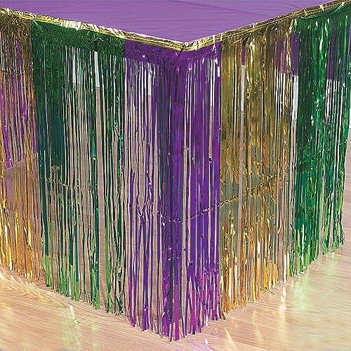 7b6dd340858 Fun Express - Mardi Gras Metallic Fringe Table Skirt for Mardi Gras - Party  Supplies -