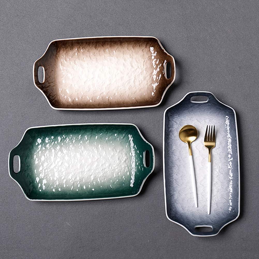 WZYJ Grand Baker Rectangulaire, Céramique Plat À Casserole Rectangulaire Plats De Cuisson avec Poignée pour Four Céramique Cuisson Pan Lasagne pour Cuisine Cuisine,Marron Green