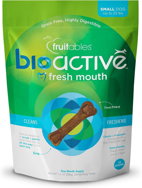 Fruitables Bioactive Dental Chews | Gluten and Grain-Free Dental Treat | Superfood Formulated
