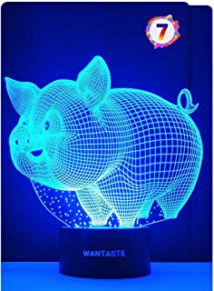 WANTASTE Pig 3D Lamp Toys for Girls Boys Room, Night Light Bedside Decor Gifts for Kids Baby Birthday, 7 Colors Changing Nightlight with Smart Control