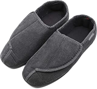 BIZAR Men's Memory Foam Slippers for Diabetic, Soft Wide Width House Shoes with Plush Fleece for Swollen Feet Edema Arthritis, Indoor/Outdoor