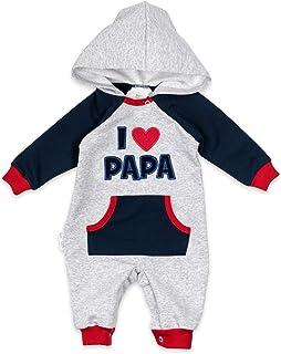 """Baby Sweets Baby-Overall mit Kapuze im """"I Love Papa""""-Design als Baby-Kleidung für Mädchen & Jungen/Overall Baby als Baby-Strampler Erstausstattung für Neugeborene & Kleinkinder verschiedener Größen"""