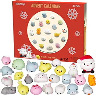 Advent Calendar 2019 Christmas Countdown Calendar 24Pcs Mochi Squishy Animals Including Santa Non-Toxic Relief Stress Surprise Every Day for Kids and Adults
