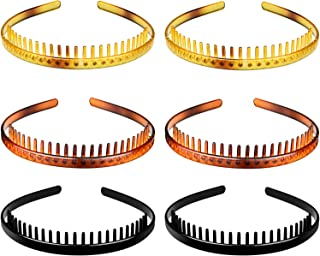 6 Pieces Teeth Headband Plastic Comb Hairband Hair Hoop Accessory for Women Girls