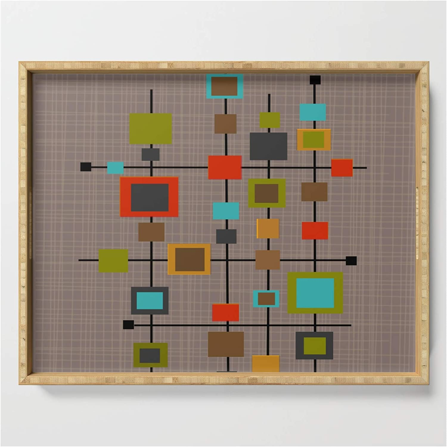 Mid-century Modern Squares Pattern Shipping New product! New type included by Kippygirl Serving Tray on