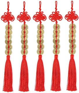 Topxome Retro 6 Coins Red Chinese Knot Copper Feng Shui Wealth Success Lucky Charm Home Car Hanger Decors (Pack of 5)