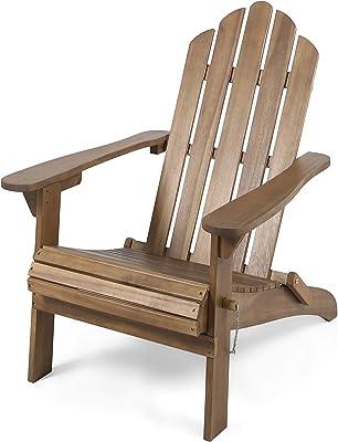 Christopher Knight Home 305374 Cara Outdoor Foldable Acacia Wood Adirondack Chair, Dark Brown Finish